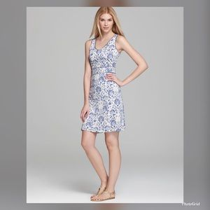 Tory Burch S silk Gene blue floral silk dress